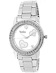 Velos White Dial Analog Stainless Steel Watch For Women-ab-w139