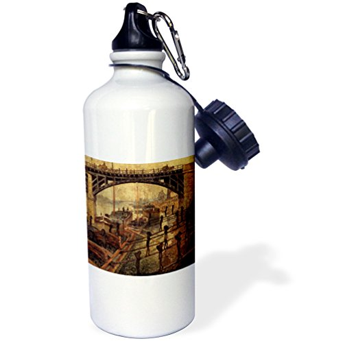 FabPeople - Claude Monet Portraits - Coal Dockers, Claude Monet Painting Dated 1875, PD-US - 21 oz Sports Water Bottle (wb_179224_1)
