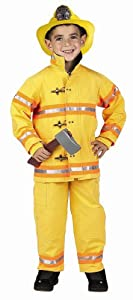 Get Real Gear Yellow Jr. Firefighter Suit with Helmet, Size 12/14