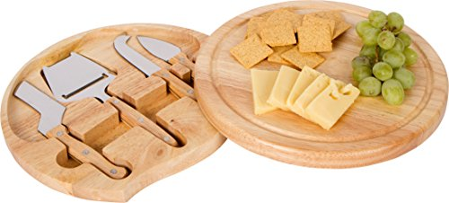 Trademark Innovations Bamboo Cheese Board and Tools Set with Swivel Base, Natural