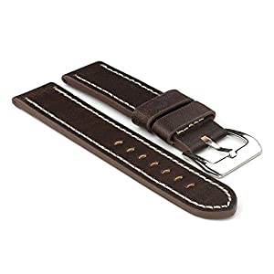 StrapsCo Dark Brown with White Stitching Thick Leather 18mm Watch Strap