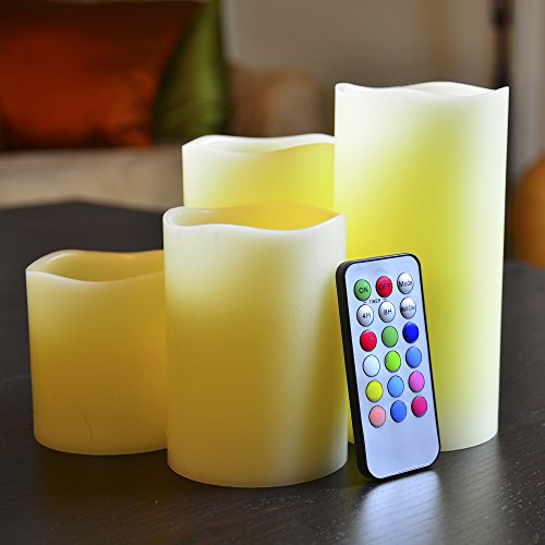 Flameless LED Illumicandle - 4 Nonflammable Wax Battery Operated Pillar Electric Candles - Multi Function Remote Control with Timer - Color Changing / Light Mode Options - Unscented Safe Indoor Candle