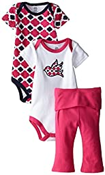 Yoga Sprout Baby-Girls 3 Piece 2 Bodysuits and Pant Set Bird, Girl Bird, 18-24 Months