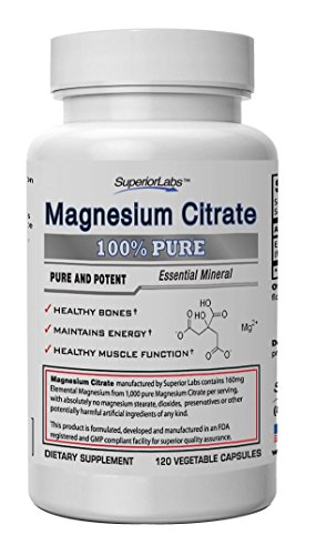 #1 Magnesium Citrate - No Magnesium Stearate - 160mg Elemental Magnesium, 120 Vegetable Caps - Made In USA, 100% Money Back Guarantee