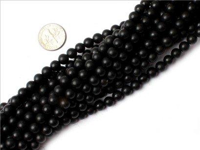 6mm round gemstone brazil balck agate beads strand 15