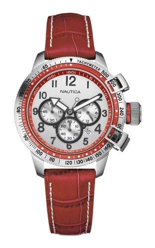 Nautica Midsize 18528L BFC Red Leather Watch