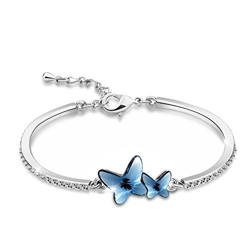 "T400 Jewelers ""Dream Chasers"" Alloy Swarovski Elements Crystal Butterfly Shape Bracelets Bangle Sapphire"