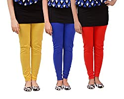 Carrol Women Leggings(combo of 3 Yellow, Blue and Red)