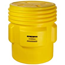"Eagle 1661 Yellow Blow-Molded HDPE Overpack Drum with Screw-on Lid, 65 gallon Capacity, 33.75"" Height, 31"" Diameter"