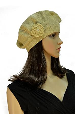Mesh Crocheted Flower Accented Brick Knit Stretch Beret - Tan