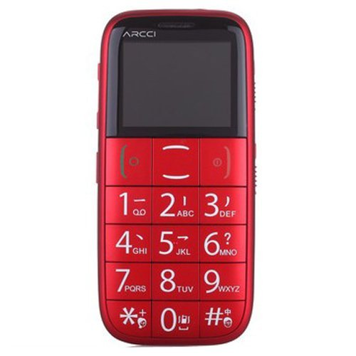 Arcci By Jethro Quad Band Senior Cell Phone, Easy To Use Senior And Kid Cell Phone, Sos Button, Large Keyboard, Simple To Use Unlocked Gsm Sc00051R Red