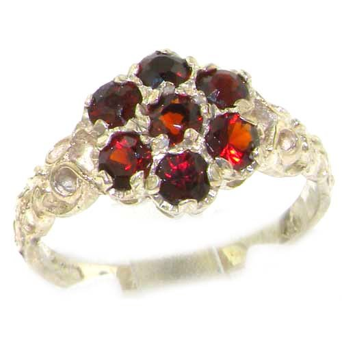 Luxury Ladies Solid Sterling Silver Natural Garnet Victorian Daisy Ring - Size 12 - Finger Sizes 5 to 12 Available - Suitable as an Anniversary ring, Engagement ring, Eternity ring, or Promise ring