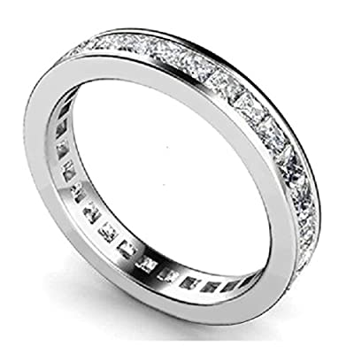 Brand New Princess Diamond Channel Set Full Eternity Ring,9k White Gold