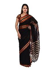 A1 Fashion Women Cotton Black Saree With Blouse Piece
