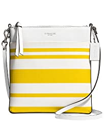 Coach Bleecker North/South Swingpack In Striped Coated Canvas