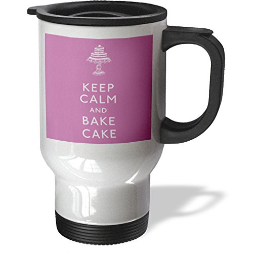Evadane - Funny Quotes - Keep Calm And Bake Cake. Pink. - Travel Mug - 14Oz Stainless Steel Travel Mug - Tm_194319_1
