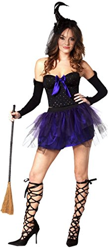Sexy Mesh Witch Halloween Costume Strapless Tutu Outfit Cosplay Accessories