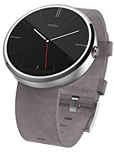 Motorola Moto 360 Stainless Steel Smartwatch and Heart Rate/Activity Tracker with Bluetooth Connectivity Compatible with Android 4.3+ Smartphones - Light Steel/Stone Leather Strap
