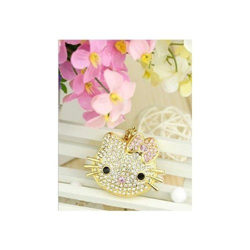 United States version ☆ Hello Kitty necklace bling Crystal USB memory Flash memory 8 GB (gold) jewelry gift [parallel import goods]