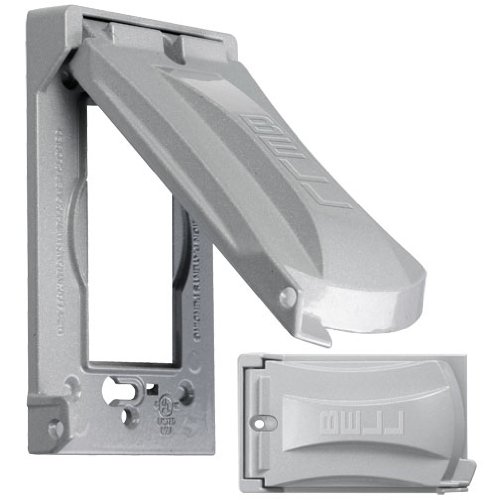 Bell Mx1050S Weatherproof Single Outlet Cover Outdoor Receptacle Protector, Grey, Vertical Flat front-174427