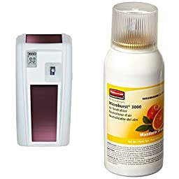 Rubbermaid Commercial Products Microburst 3000 CST Dispenser with LumeCel Technology, White and Mandarin Orange Refill  (1955229 & FG402408)