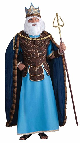 [Mememall Men King Neptune Costume Blue/Brown One Size [Apparel]] (Dragon Warrior King Adult Mens Costumes)