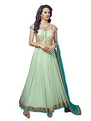 1 Stop Fashion Green Semi Stitched Net Anarkali Salwar Kameez