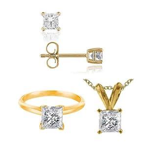 3 CT Princess Cut Diamond Set 14K Yellow Gold - Ring, Pendant & Earrings (I1-I2 Clarity)