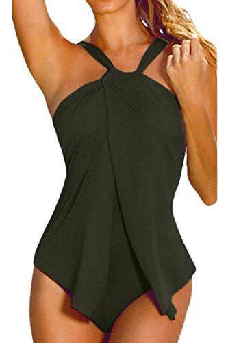 Sovoyant Women's Halter Neck Wrap One Piece Bathing Suit Monokini Green L