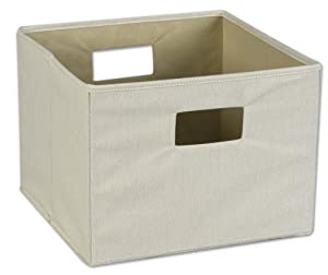 Household Essentials Storage Bin with Handles, Natural Canvas