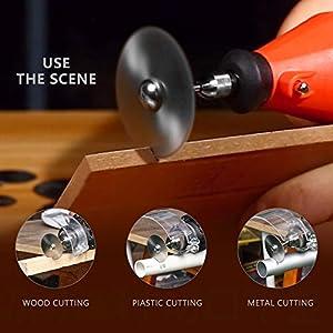 PROMMON 5Pcs Ti-coated Saw Blades Rotary Tool & 5Pcs Stainless Steel Wood Cutting Wheel Saw Blade Discs & 2Pcs 3mm Twist Drill Bit For Prommon Dremel Rotary Tools Pack Of 12Pcs (Color: 12Pcs Saw Blade)