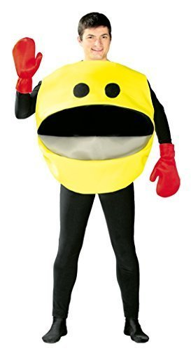 Mens Ladies Yellow Pacman Unisex Costume. Ideal for 80s dress up