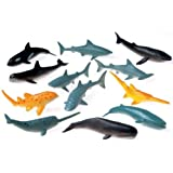 Lot Of 12 Assorted Whale And Shark Toy Figures
