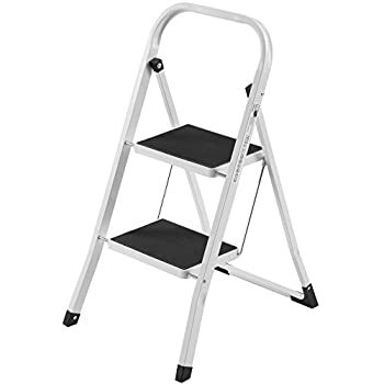 VonHaus Steel Folding Compact Portable 2 Step Ladder with 330lbs Capacity