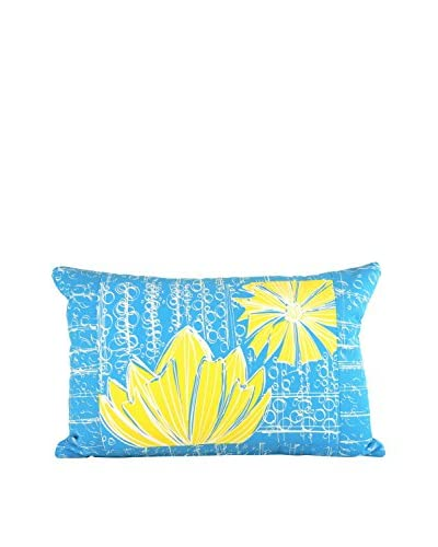 Jacque Pierro Duches In Blue Bell Large Pillow, Blue/Yellow/White