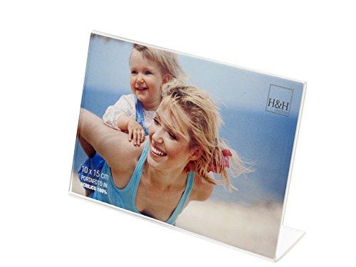 H&H Set 6 Portafoto acrilico trasparente orizz 10x15 Cornici e specchi