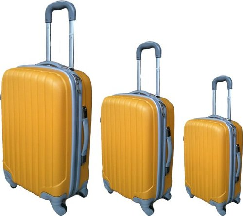 3er Set Polycarbonat Koffer Trolley mit ABS yellow