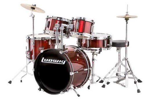 Ludwig Junior 5 Piece Drum Set with Cymbals (Wine Red)