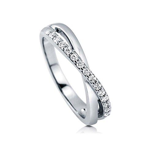 [ジュエリーキャッスル] Jewelry Castle リング マイクロセッティング CZダイヤモンド クロスラインリング USサイズ5号 (日本サイズ 9号~10号)