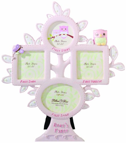 Lillian Rose 1st Year Picture Frame, Pink Owl, 10.5""