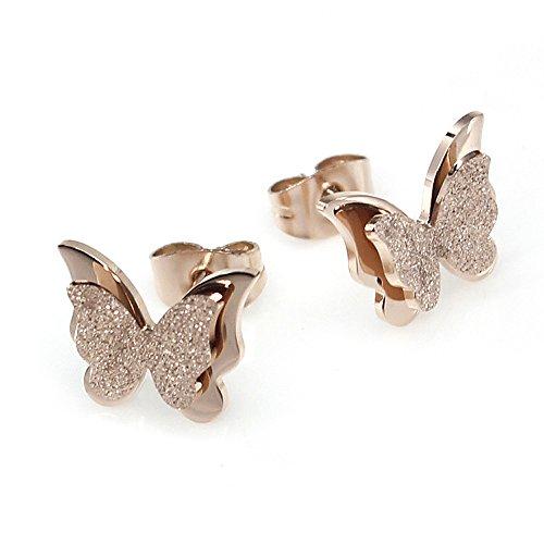 Pendientes de Mariposas en Acero Inoxidable y Oro