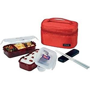 lock lock bento lunch box set w chopstics insulated bag red kitchen dining. Black Bedroom Furniture Sets. Home Design Ideas