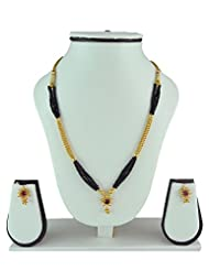 Womens Trendz Traditional, Ethnic And Antique 24K Gold Plated Mangalsutra And Earrings Set