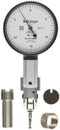 "Mitutoyo 513-302G Dial Test Indicator, Basic Set, Universal Type, 0.375"" Stem Dia., White Dial, 0-15-0 Reading, 1.575"" Dial Dia., 0-0.03"" Range, 0.0005"" Graduation, +/-0.0005"" Accuracy"