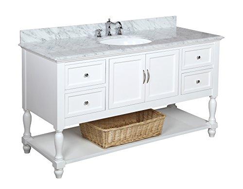 Beverly Ceramic Sink Bathroom Vanity Carrara Marble