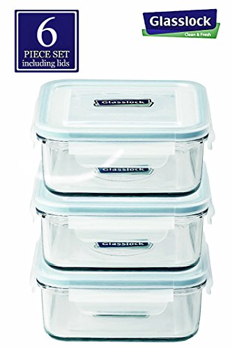 Original Glasslock Airtight Anti Spill Square Tempered Glass Food Container 30-ounce/900ml 6 piece set (3pcs container and 3 pcs lids) (Tempered Glass Oven compare prices)