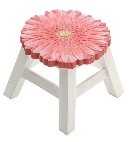 Hand-Carved Wooden Footstools, in Daisy