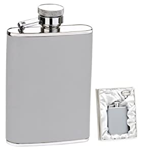 Silver Gray 3 oz. Leather Flask in Gift Box w/ Funnel
