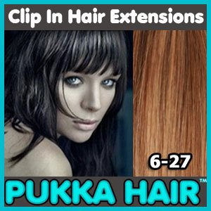 24 Inch (Medium Brown/Caramel Mix #6/27) Clip In Remy Human Hair Extensions - 8 Piece Set - Full Head - Clips Attached - 120g Weight - Get the Celebrity Lush Look!!