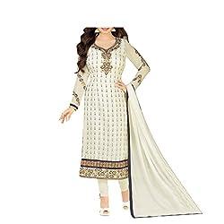 Bhelpuri Women Off-white Brasso Georgette Dress Material